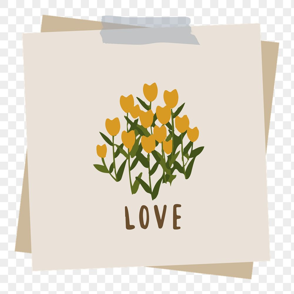 Love word message and flowers on notepaper set with sticky tape on transparent