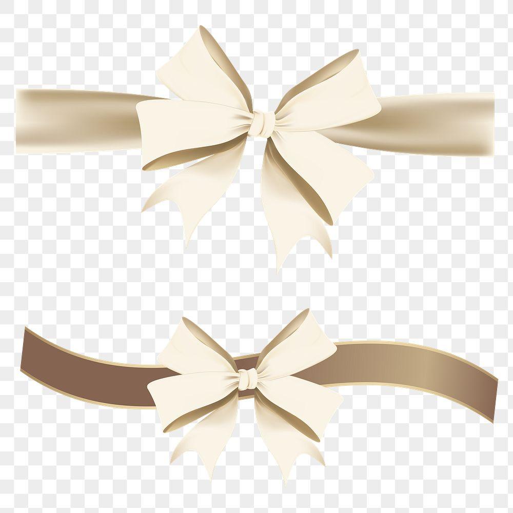 Gold ribbon bow element set transparent png