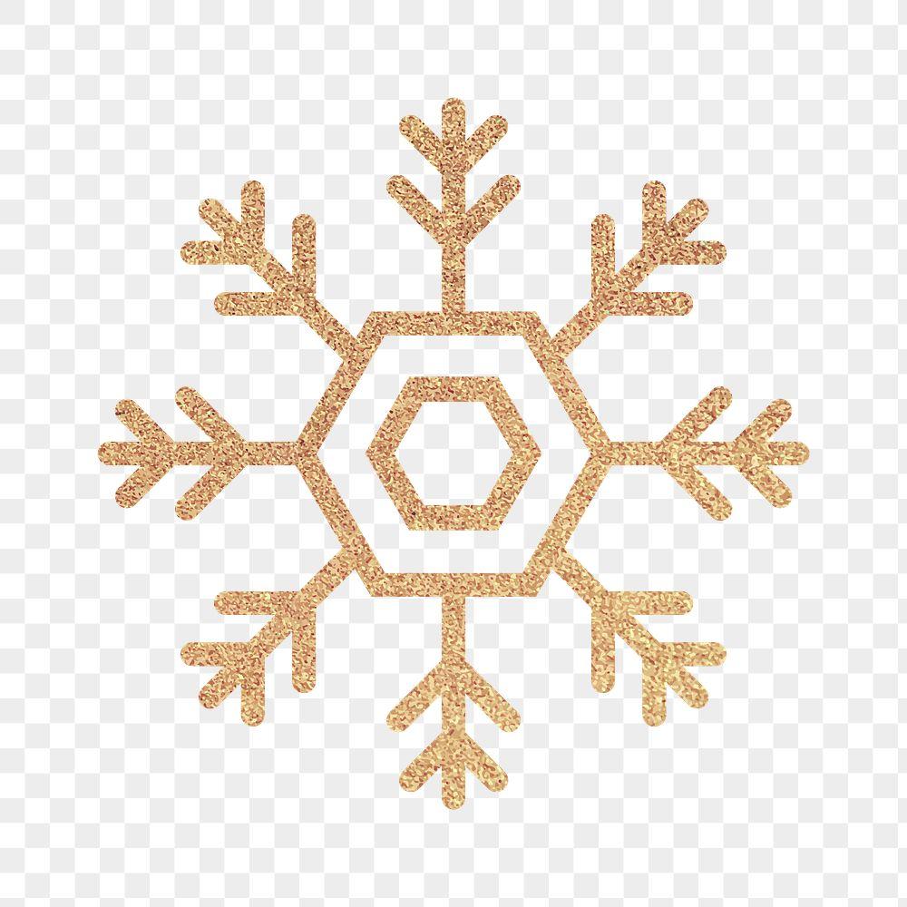 Glittery gold snowflake element vector