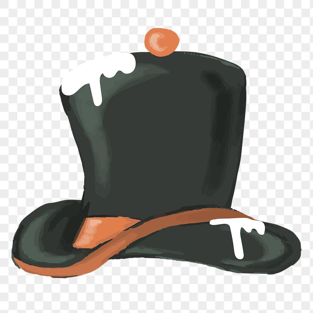 Black Snowman top hat element transparent png