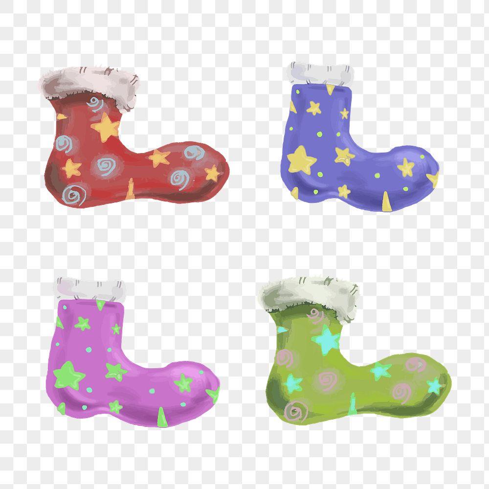 Hand drawn Christmas stocking sock element set illustration