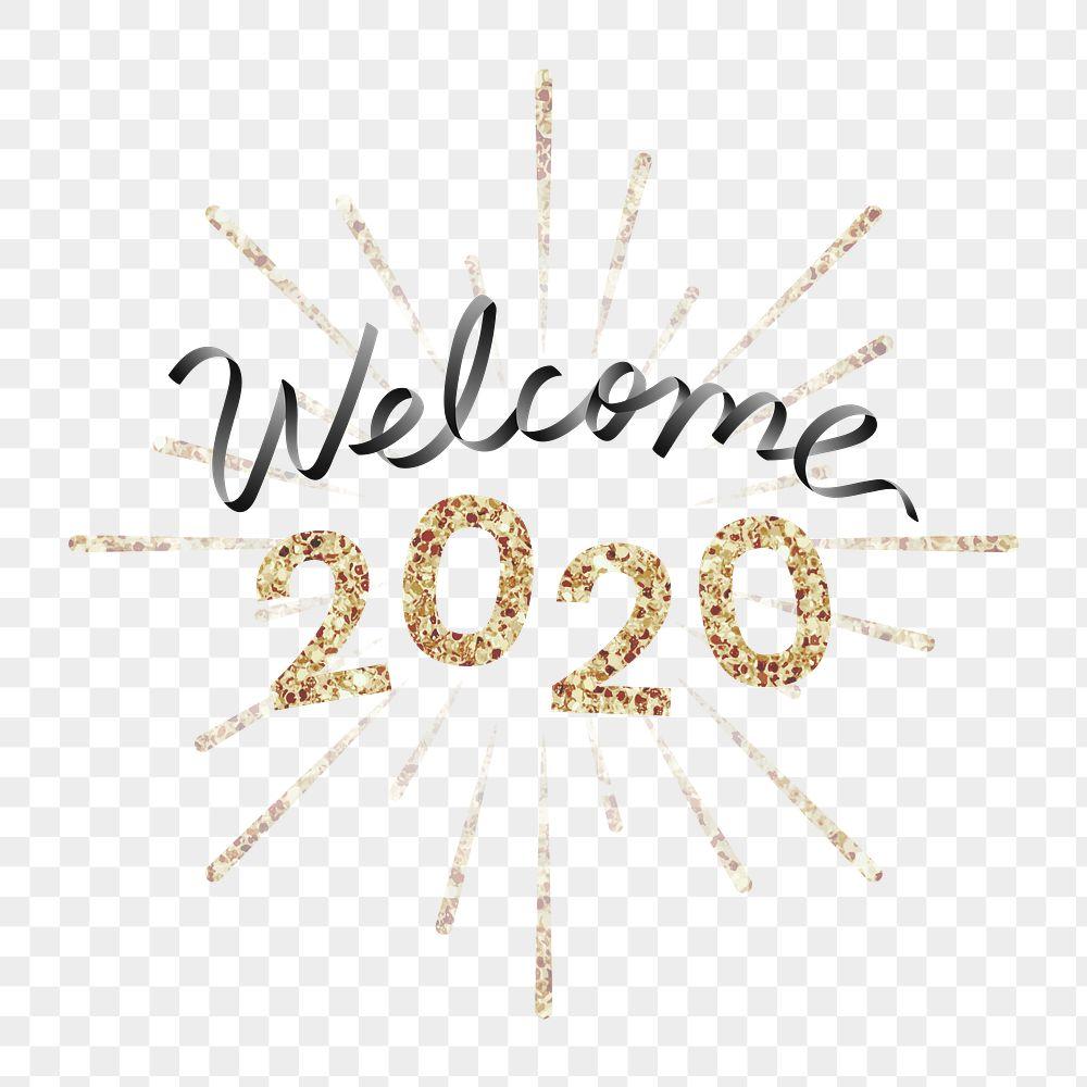 Shimmering golden welcome 2020 transaprent png