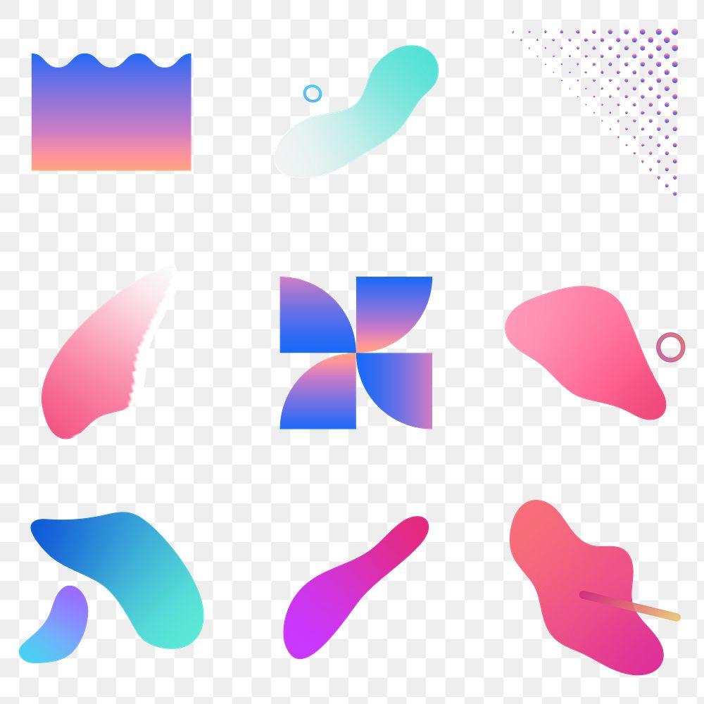 Colorful gradient elements collection transparent png