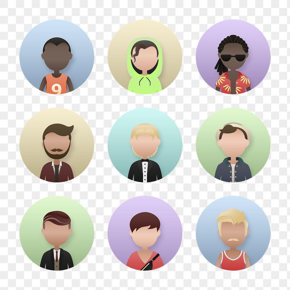 Set of diverse men avatar character transparent png