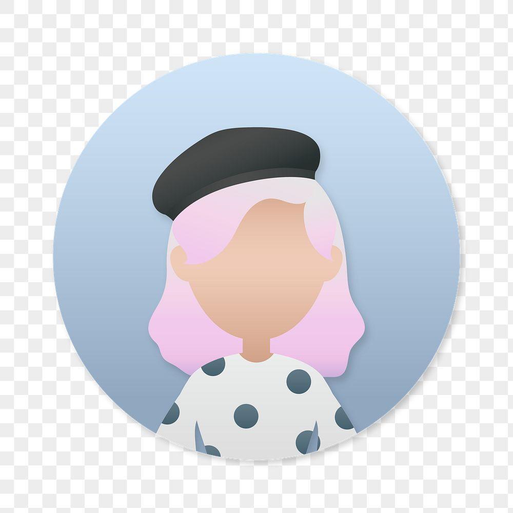 Woman in polka dot dress avatar transparent png