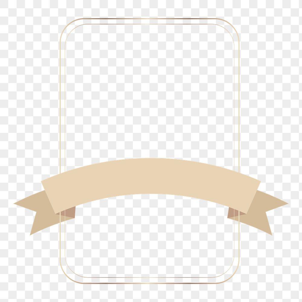 Gold frame with bronze ribbon banner transparent png