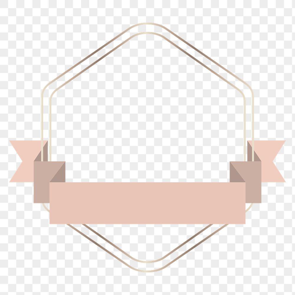 Gold frame with pink gold ribbon banner transparent png