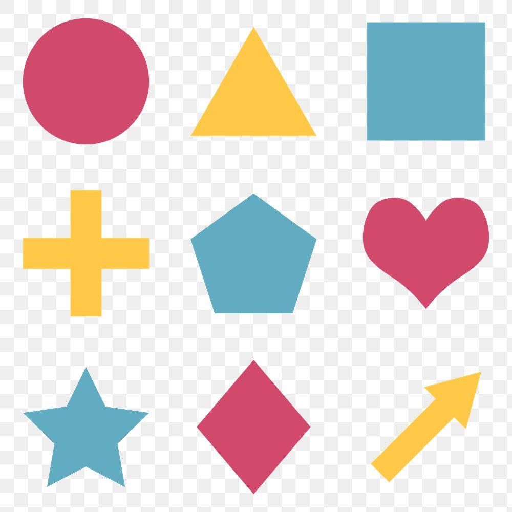 Colorful flat geometric shapes set transparent png