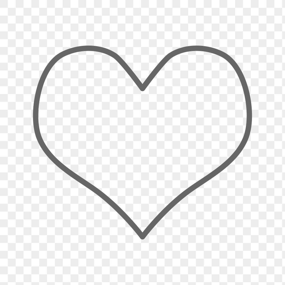 Stroke heart geometric shape transparent png