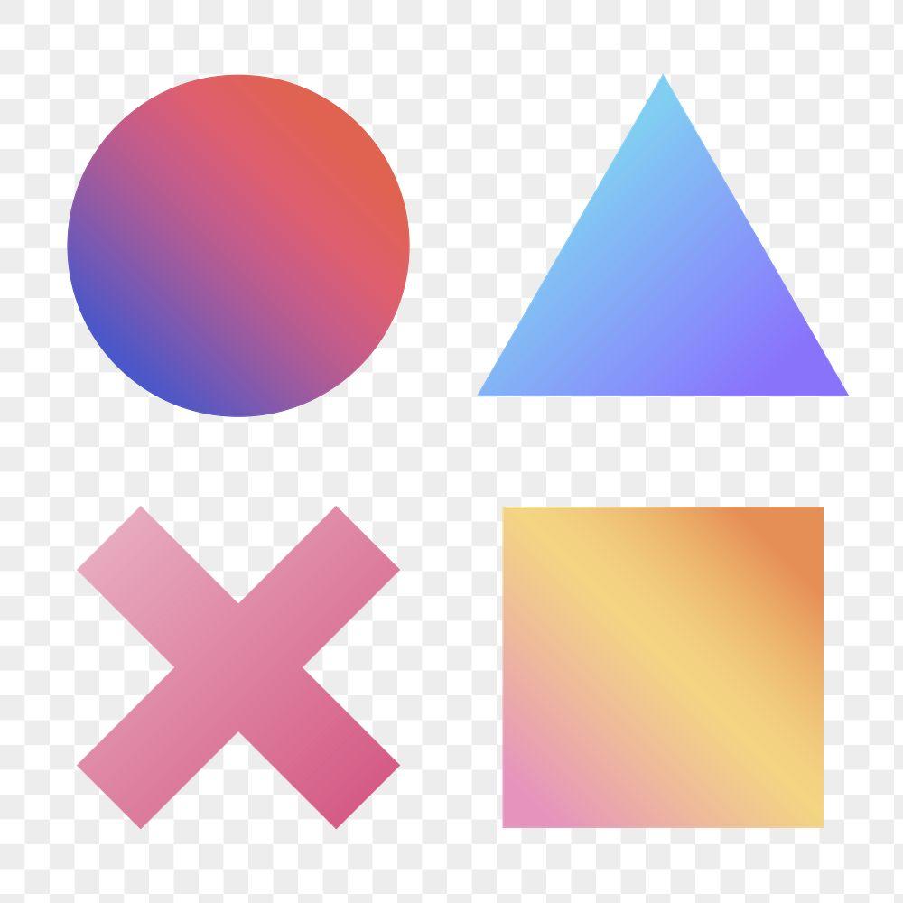Colorful gradient geometric shapes set transparent png