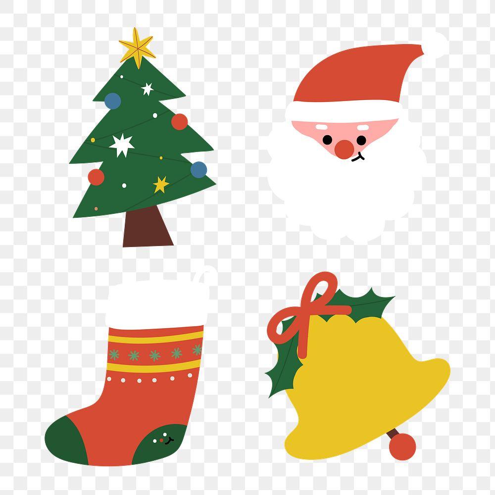 Festive decorative Christmas elements set transparent png