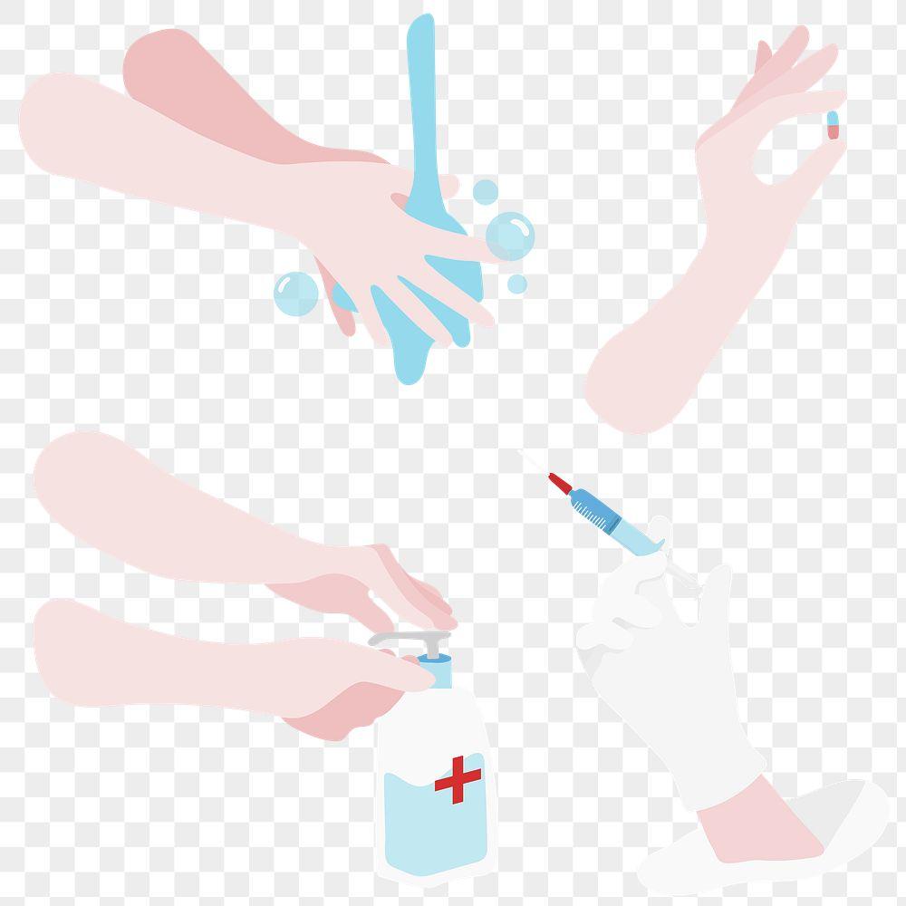Virus spread prevention design element set transparent png