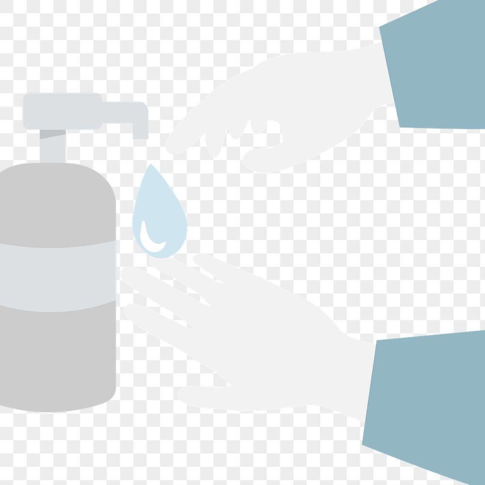 Disinfecting hands with sanitizer gel anti Coronavirus transparent png