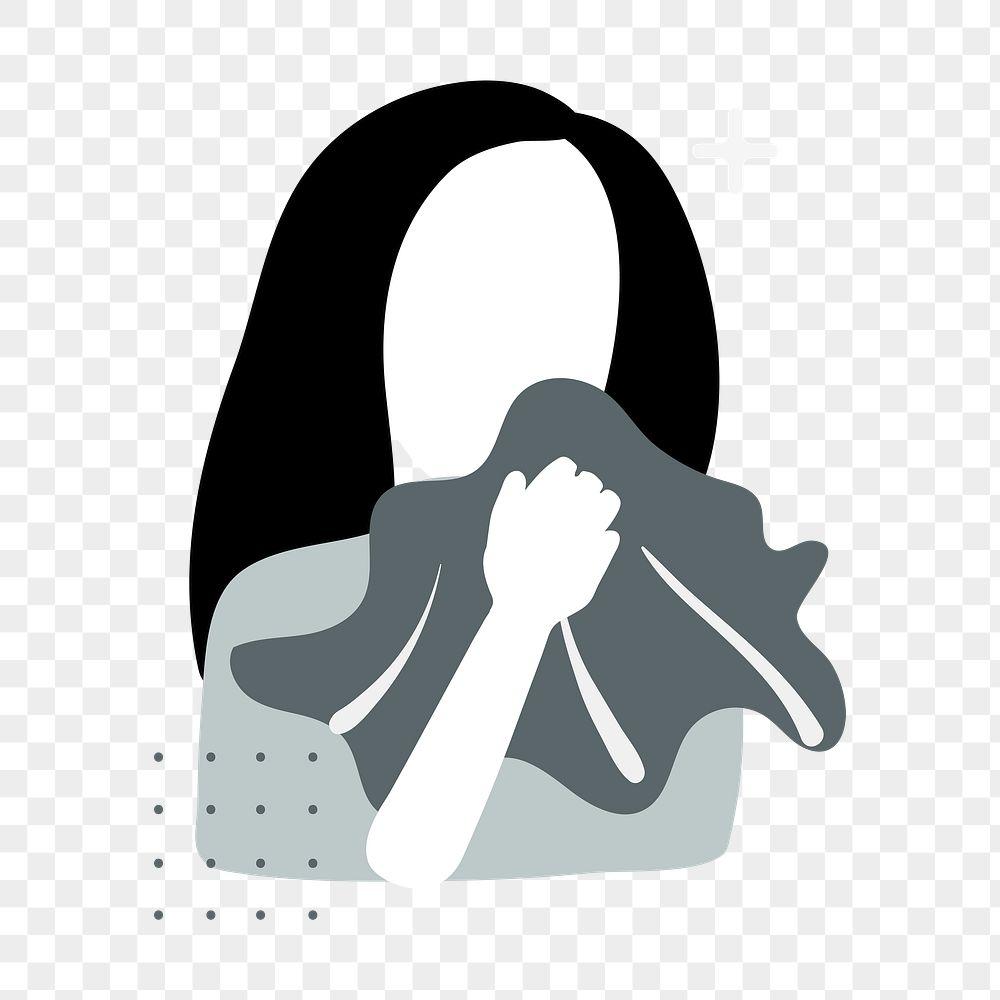 Sick woman sneezing into handkerchief transparent png