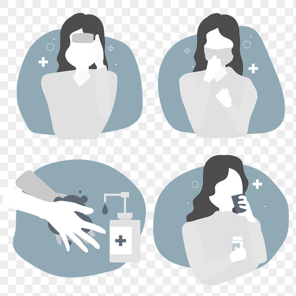 Corona virus signs and symptoms character set transparent png