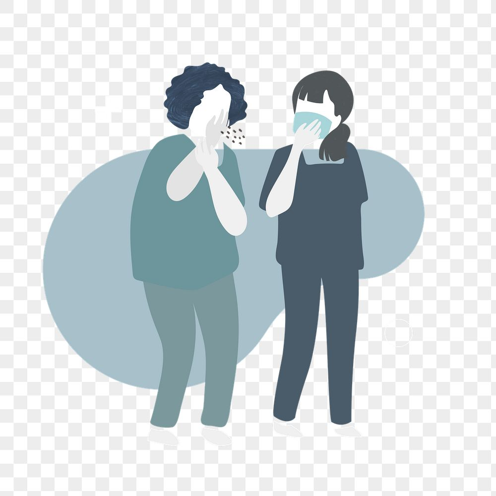 Coughing woman in a public area element character transparent png