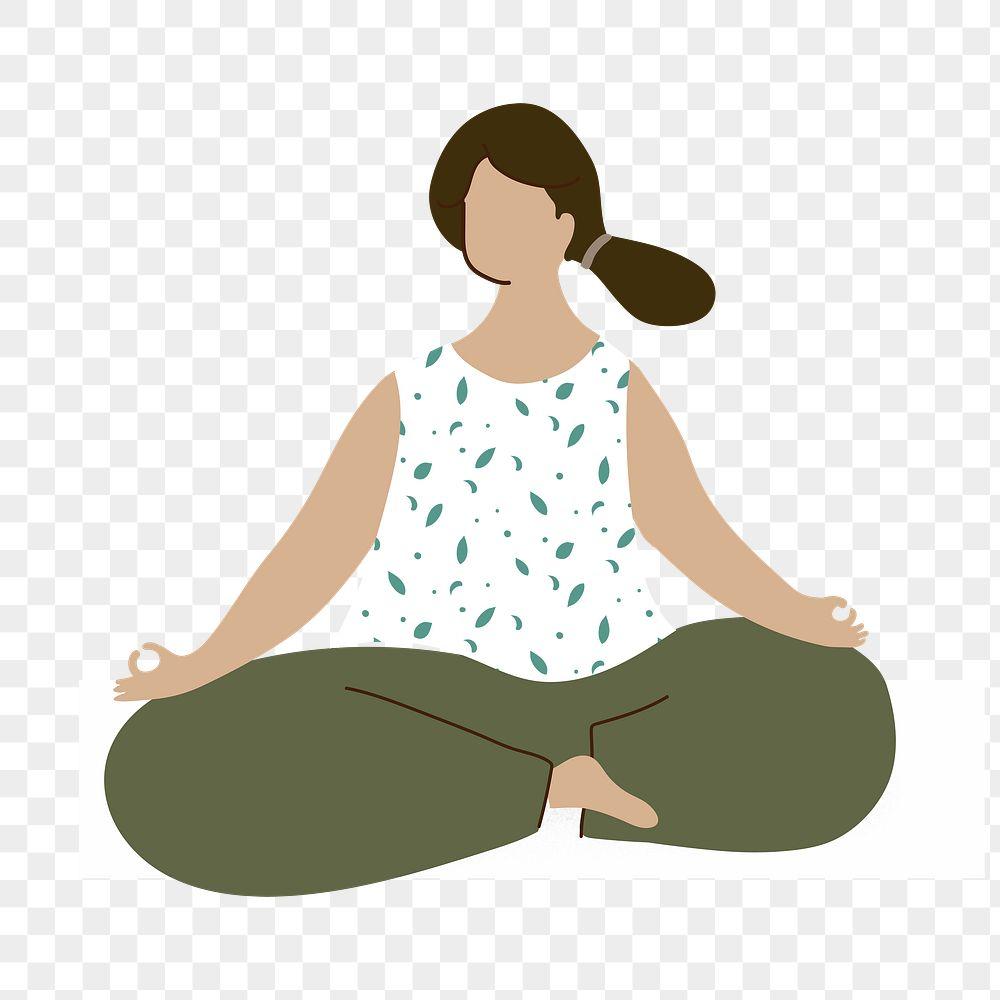 Woman meditating during coronavirus quarantine character element transparent png