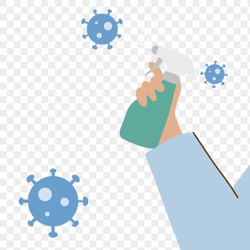 Man spraying alcohol to prevent infection of coronavirus transparent png