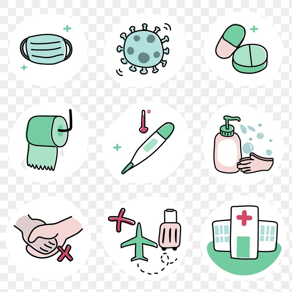Protect yourself from coronavirus pandemic icon set transparent png