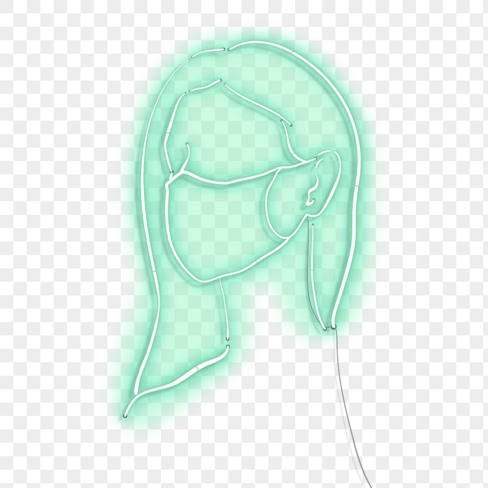 Woman wearing a face mask to prevent coronavirus pandemic neon character transparent png
