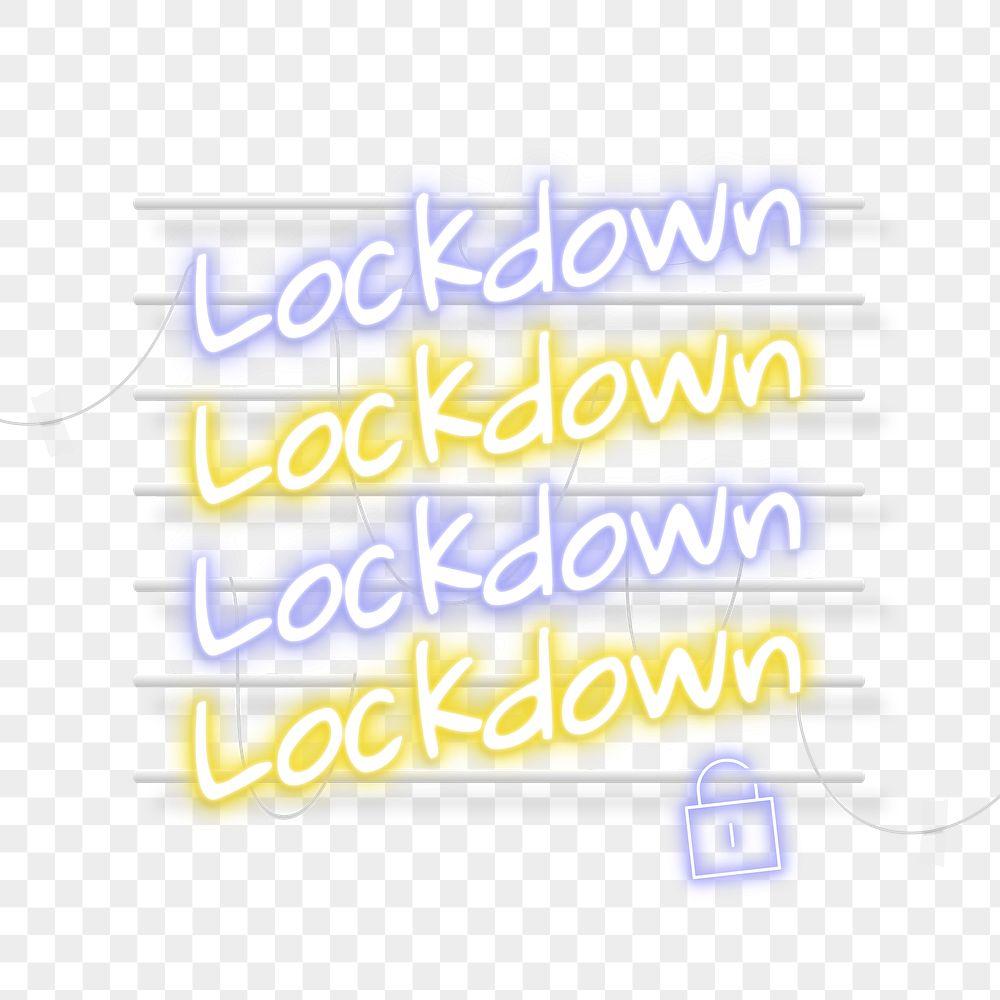 Lockdown during coronavirus pandemic neon signs transparent png
