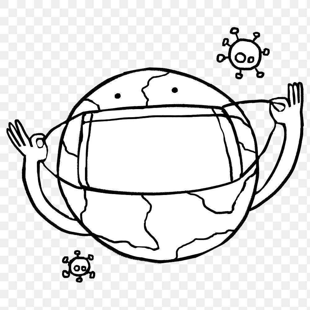Planet earth wearing a face mask against coronavirus pandemic element doodle transparent png