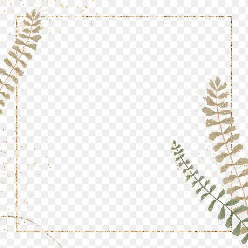Golden foliage png frame design