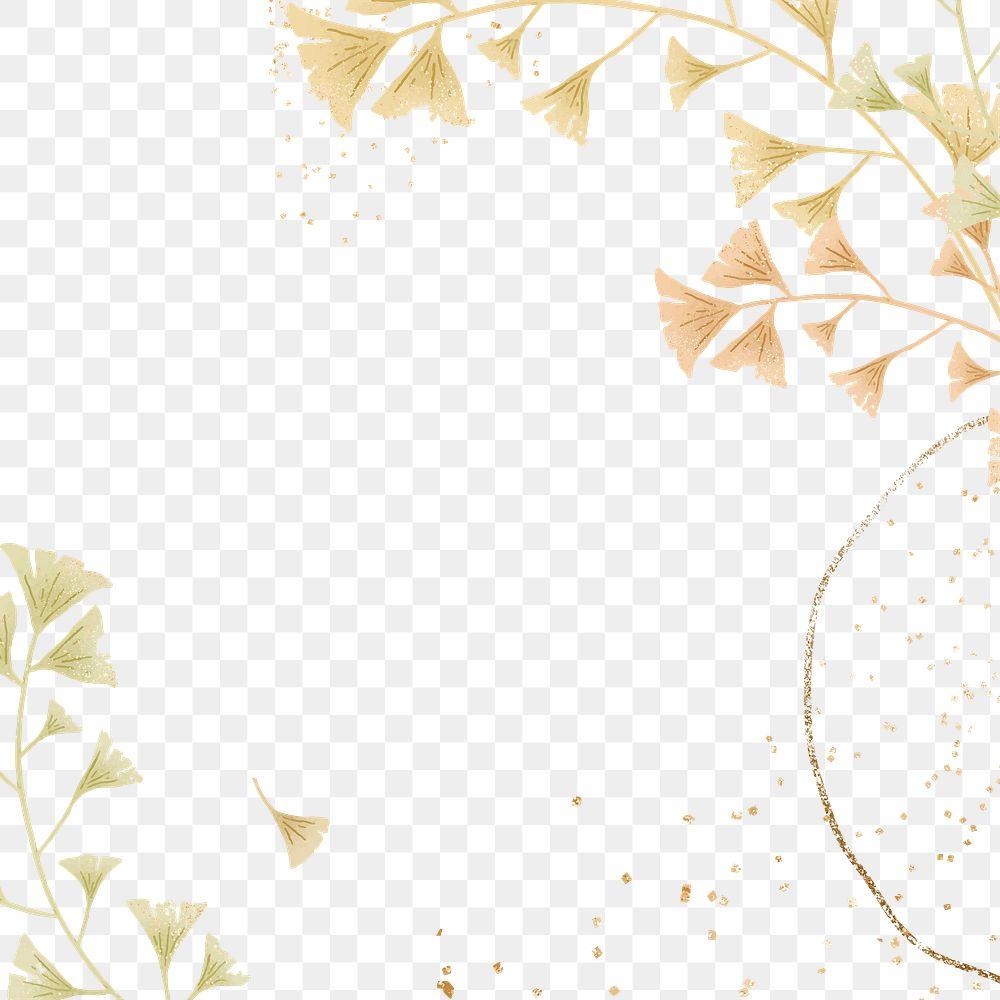 Ginkgo leaves glitter frame png