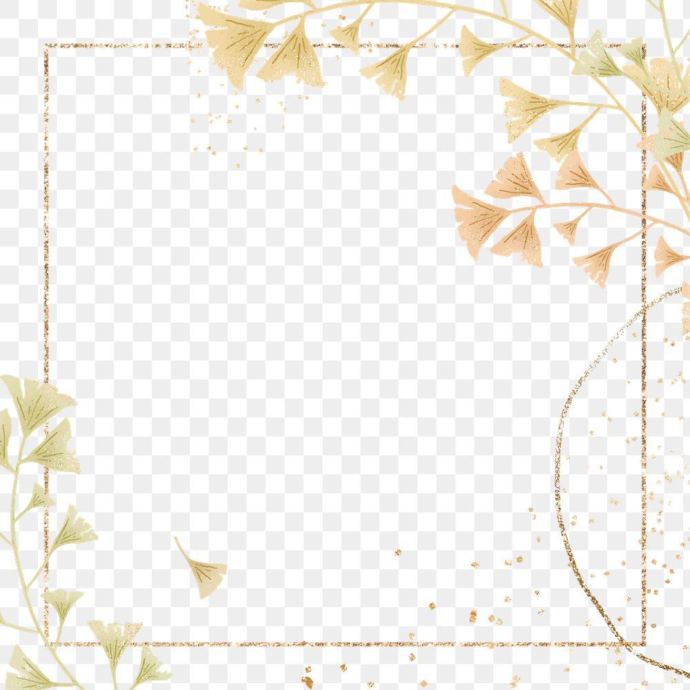 Png ginkgo leaf on gold frame