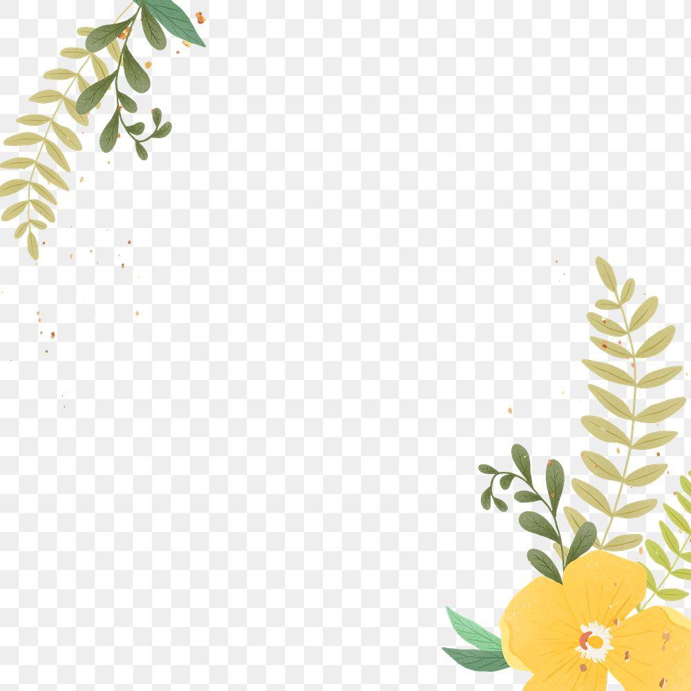 Floral gold glitter png frame design