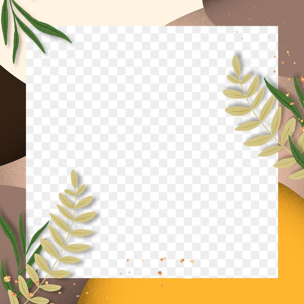 Square leaf frame design png