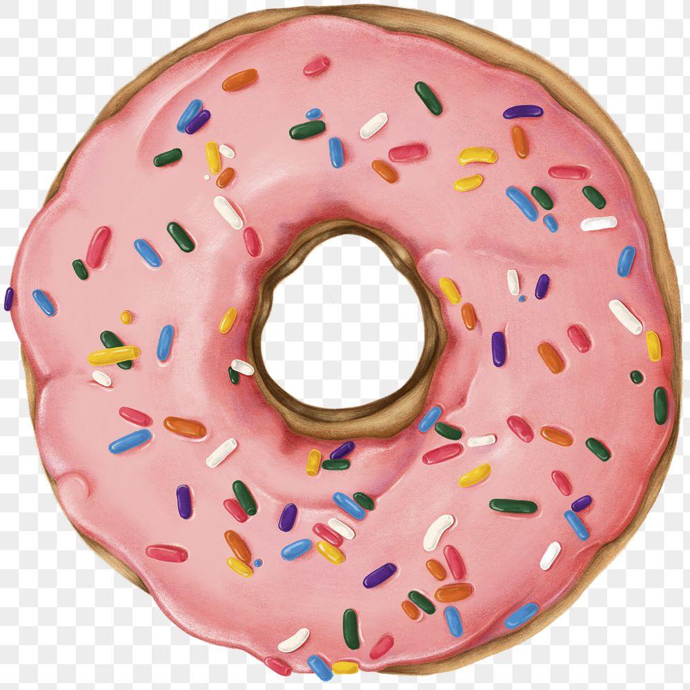 Hand drawn glazed doughnut transparent png